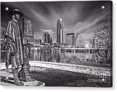 Stevie Ray Vaughn Statue In Austin Skyline Acrylic Print by Tod and Cynthia Grubbs