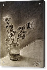 Still Life Ceramic Pitcher With Three Sunflowers Acrylic Print by Jose A Gonzalez Jr