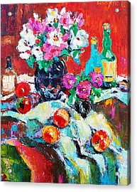 Still Life In Studio With Blue Bottle Acrylic Print by Becky Kim