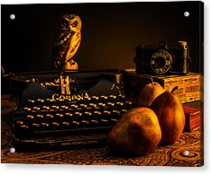 Still Life - Pears And Typewriter Acrylic Print by Jon Woodhams