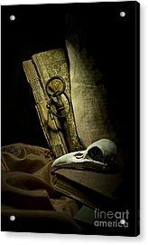Still Life With A Bird Skull Acrylic Print by Jaroslaw Blaminsky