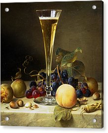 Still Life With A Glass Of Champagne Acrylic Print by Johann Wilhelm Preyer