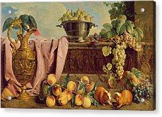 Still Life With A Jug, 1734 Oil On Canvas Acrylic Print by Alexandre-Francois Desportes
