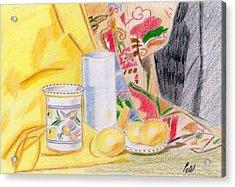 Still Life With A Patterned Background Acrylic Print by Bav Patel