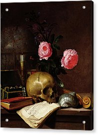 Still Life With A Skull Oil On Canvas Acrylic Print by Letellier