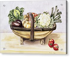 Still Life With A Trug Of Vegetables Acrylic Print by Alison Cooper