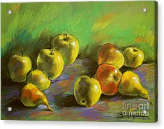 Still Life With Apples And Pears Acrylic Print by Mona Edulesco