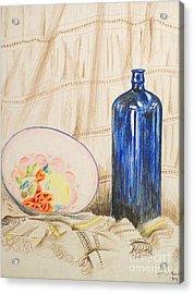 Still-life With Blue Bottle Acrylic Print by Alan Hogan
