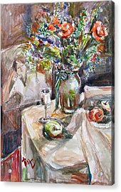 Still Life With Figural Background Acrylic Print by Becky Kim