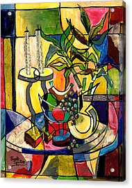 Still Life With Fruit Candles And Bamboo Acrylic Print by Everett Spruill