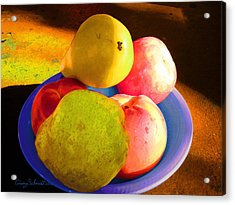 Still Life With Fruit Acrylic Print by Ginny Schmidt