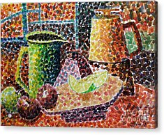 Still Life With Green Jug Painting Acrylic Print by Caroline Street