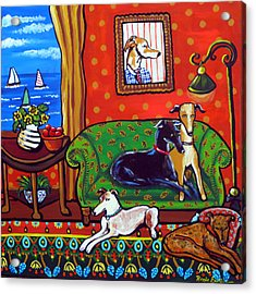 Still Life With Greyhounds Acrylic Print by Renie Britenbucher