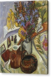 Still Life With Jug And African Bowl Acrylic Print by Ernst Ludwig Kirchner