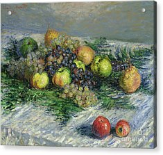 Still Life With Pears And Grapes Acrylic Print by Claude Monet