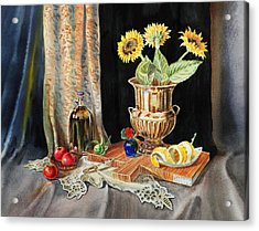 Still Life With Sunflowers Lemon Apples And Geranium  Acrylic Print by Irina Sztukowski