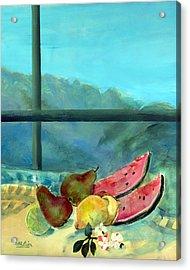 Still Life With Watermelon Acrylic Print by Marisa Leon