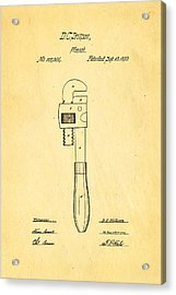Stillson Wrench Patent Art 1870 Acrylic Print by Ian Monk