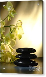 Stone Cairn And Orchids Acrylic Print by Olivier Le Queinec