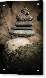 Stone Cairns Iv Acrylic Print by Marco Oliveira
