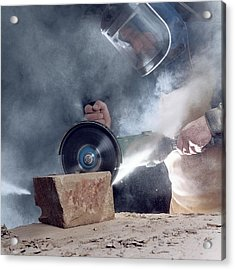 Stone Masonry Dust Exposure Acrylic Print by Crown Copyright/health & Safety Laboratory Science Photo Library