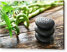 Stones And Bamboo Acrylic Print by Olivier Le Queinec