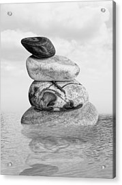 Stones In Water Black And White Acrylic Print by Gill Billington