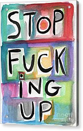Stop Acrylic Print by Linda Woods