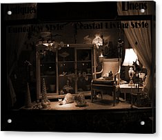 Store Window At Night Acrylic Print by Phil Penne
