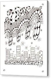 Storm Above The City Acrylic Print by Paula Dickerhoff
