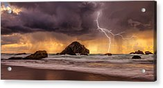Storm At Face Rock Acrylic Print by Darren  White