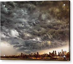 Storm Coulds Over Nyc Acrylic Print by Jerry Fornarotto