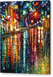 Storm In The City Acrylic Print by Leonid Afremov