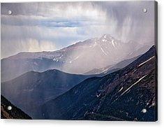 Storm Near Longs Peak Acrylic Print by Adam Pender