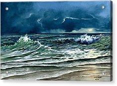 Storm Off Yucatan Mexico Acrylic Print by Lynne Wright