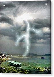 Storm On Balaton Lake Acrylic Print by Odon Czintos