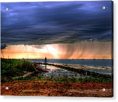 Storm On The Bay Acrylic Print by Robert Brown