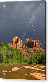 Storm Over Cathedral Rock Acrylic Print by Alexey Stiop