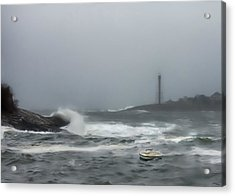Storm Surge At Marblehead Acrylic Print by Jeff Folger