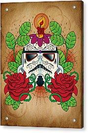Storm Trooper Sugar Skull Acrylic Print by Samuel Whitton