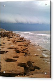 Stormy Coquina Acrylic Print by Julie Wilcox
