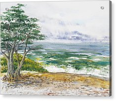 Stormy Morning At Carmel By The Sea California Acrylic Print by Irina Sztukowski