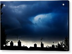 Stormy Roof Tops Of England  Acrylic Print by Catherine Davies