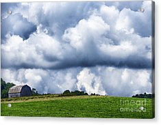 Stormy Sky And Barn Acrylic Print by Thomas R Fletcher