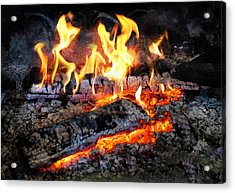 Stove - The Yule Log  Acrylic Print by Mike Savad