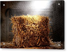Straw Bale In Old Barn Acrylic Print by Olivier Le Queinec