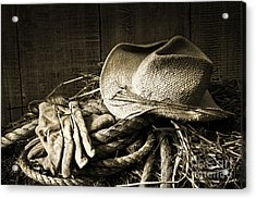Straw Hat With Gloves On A Bale Of Hay Acrylic Print by Sandra Cunningham