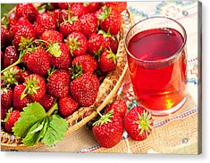 Red Strawberries In Basket And Juice In Glass  Acrylic Print by Arletta Cwalina