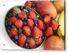 Strawberries Blueberries Mangoes And A Banana - Fruit Tray Acrylic Print by Andee Design