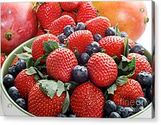 Strawberries Blueberries Mangoes - Fruit - Heart Health Acrylic Print by Andee Design